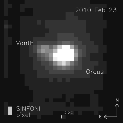 Near-infrared AO image of (90482) Orcus and its satellite