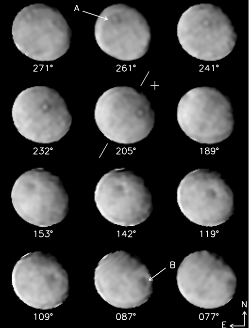 High-angular resolution images of Ceres obtained with Keck AO
